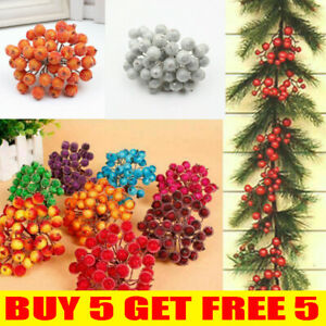 40 Head Artificial Frosted Holly Berry Flowers Fruit Home Wedding Party Decor UK