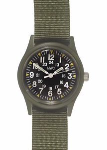 MWC Olive Drab Vietnam War Pattern Military Watch on Nylon Webbing Strap