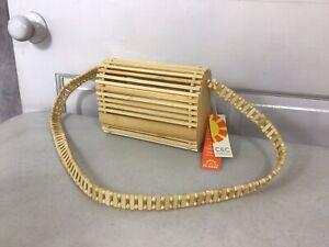C&C California Wooden Bamboo Bag Crossbody Purse NEW
