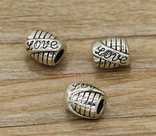 15 Love Tube Metal Beads Spacer Large Hole European Bead Silver 10x9x11 2431