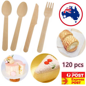 Premium Wooden Cutlery Disposable Bamboo Wood Bulk Buy Forks Spoons Knives Party