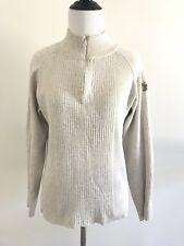 Duck Head Womens Pullover Mock Turtleneck Size L Half Zip Sweater Beige Gray E3