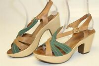 Wonders Spain Made Womens 39 Leather Sandals Sling Backs Heels Shoes