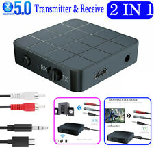 Bluetooth 5.0 Transmitter & Receiver Wireless Audio Adapter 2in1 Music 3.5mm Aux