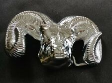 RAM HEAD HORNS SHINY SILVER TONED CHROME PLATED SOLID BRASS BELT BUCKLE 78 BARON