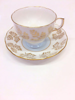 Vintage Colclough Fine Bone China Teacup & Saucer Made in England Gold Flowers