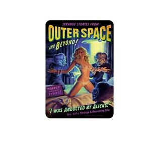 """Sexy Girl pinup Alien Sign for Wall Vintage Metal Tin Retro 11.8"""" x 7.8"""""""