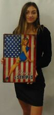 """Stars And Stripes Vintage Sign 12 x 18"""" Pin Up  All Metal Sign"""