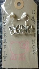 Butterfly earrings. silver plated hooks.