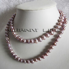 """34"""" 7-9mm Lavender Freshwater Pearl Necklace Natural Color Fashion Jewelry U"""