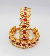 AUTHENTIC 22 K YELLOW GOLD KUNDAN BRACELET BANGLE INDIAN TRADITIONAL JEWELRY
