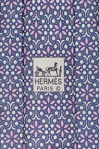 NWOT Hermes Lilac Blue Floral Luxury Long Men's Necktie 100% Silk Made In France