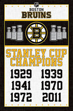 BOSTON BRUINS 6-Time Stanley Cup Champions Official NHL Hockey Wall POSTER