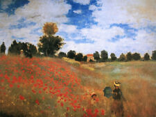 MONET CLAUDE FIELD OF POPPIES LES COQUELICOTS -1873 CUSTOM WOOD FRAMED PRINT NEW