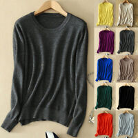 Women's Cozy Knitted Cashmere Sweater Crew Neck Fuzzy Pullover Slim Fit Wool New