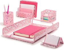 Desk Organizer Set for Women and Girls in Damask Design with 5 Office Supplies A