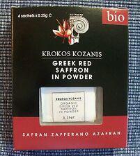 Greek Krokos Krocus Kozanis Red Bio Organic Saffron in Powder 4x0.25gr 1gr Total