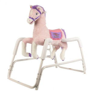 Rockin' Rider Kids Ride On Soft Toy Lacey Deluxe Talking Plush Pink Spring Horse