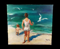CHARMING RIESS OIL PAINTING SEASIDE CHILDREN PLAYING WAVES TITLED AT THE BEACH