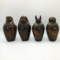 Set of 4 Egyptian Ancient Canopic Jars Organs Storage Statues