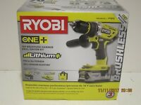 Ryobi P1813 ONE+ 18-VOLT Lith-ION Brushless Hammer Drill Kit-2018-NISB FREE SHIP