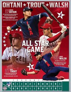 LA angels baseball 2021 ALL STAR GAME poster - ohtani, trout, walsh