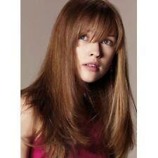 100% Real Hair! Shaggy Light Brown Graceful Medium Natural Straight Women's Wig