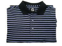NEW Footjoy Polo Golf SS Short Sleeve Purple Striped Shirt Mens M Medium