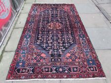 Vintage Traditional Hand Made Oriental Navy Blue Pink Wool Large Rug 216x132cm