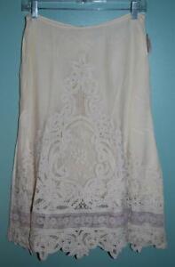 Anthropologie Future Paradise Battenburg Lace Skirt Ivory Boho $333 sz 2 fits 4