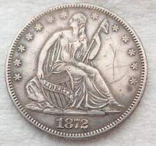 Antique 1872 Seated Liberty Half Dollar Silver Coin