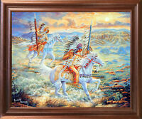 Native American Warriors Horse At Sunset Wall Art Mahogany Framed Picture 18x22