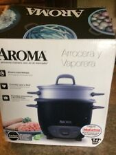 Aroma Rice Cooker & Food Steamer - 6-Cup Cooked - Black