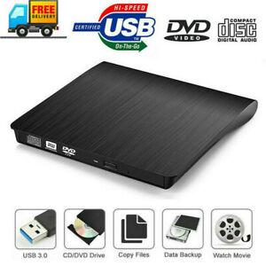 USB 3.0 DVD RW CD Writer Drive Burner Reader Player Slim External  For Laptop PC