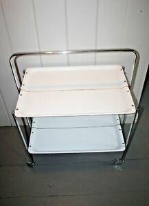 Mid Century Modern Italian Folding Bar Cart Serving Tea Trolley Enamel/Chrome