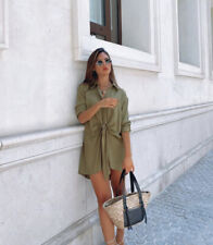 ZARA NWT FW20 BLOUSE WITH FRONT KNOT OLIVE GREEN SHIRT DRESS REF 1971/175