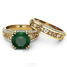 2.00 Ct Emerald & Diamond Engagement Ring Set Solid 14K Yellow Gold Over