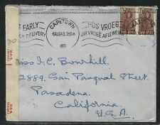 1943 South Africa WWII Censored Cover - Bloemfontein to Pasadena, CA