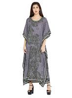 Kaftan Caftan Dress Maxi Women Long Size Boho Gown Plus Cover Up Beach Gray New
