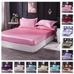 Bed Sheets Fitted Flat Sheet Silk Satin Bedding Sets Bedskirt Mattress Covers
