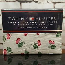 Tommy Hilfiger White with Cherries Twin XL Sheet Set 3 Pieces New