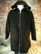 Women's Michael Kors Black Wool Hooded Coat Jacket Full Zip Gold Hardware