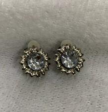 Vintage Sunflower Silver Coloured Dainty Gem Clip On Earrings Costume Jewellery