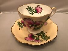 Tea Cup & Saucer by Foley Bone China, England Glengarry Thistle Pattern in Peach