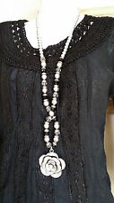 Long 1920s Style Sliver Plated Bead Statement Necklace Rose Pendant Hippy Boho