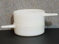 2 Individual White Ovenware BOWLS w/ HANDLES Soup/Casserole J-2639 14 oz. USA