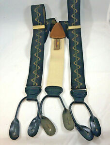 Trafalgar MCM Retro Design Silk Leather Braces Suspenders England Black Olive