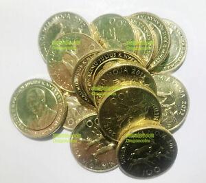 20PCS Tanzania 100 Shilingi rhino 24mm Brass plated Steel Coins lot AU-UNC