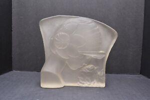 """Figural Deco Art Nouveau Frosted Glass Lady Woman panel Figure Statue 9.5"""".."""
