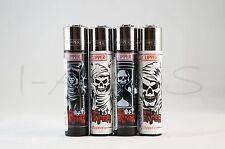 4 pcs Brand New Full Size Refillable Original Clipper Lighters Grim Reaper
